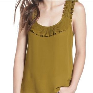 Chelsea28 Ruffle Olive Green Tank Top Camisole L